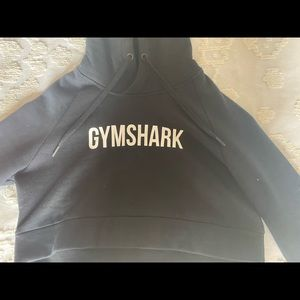 Black with White wording, Cropped Gymshark Hoodie
